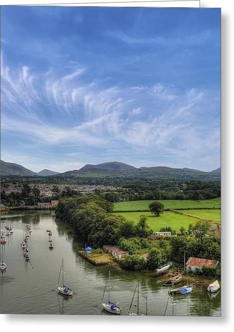Caernarfon Harbour Greeting Card by Ian Mitchell