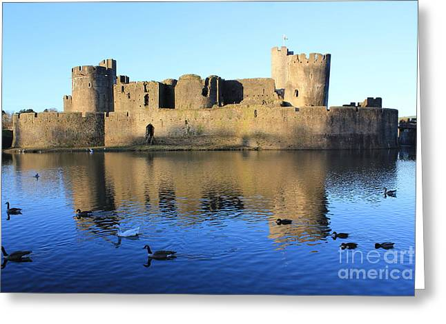 Caerphilly Castle Greeting Card by Vicki Spindler