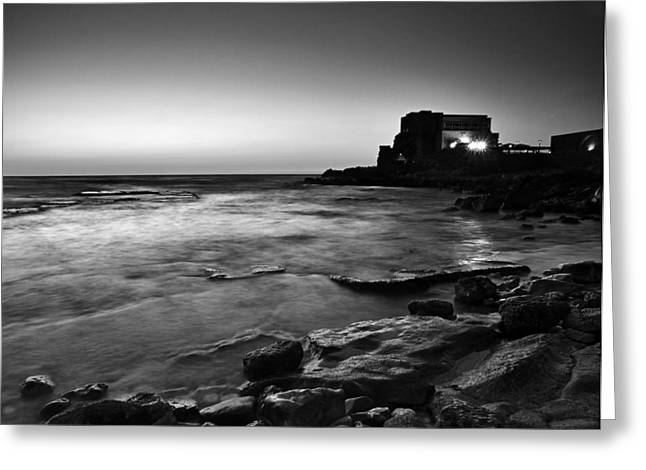 Greeting Card featuring the photograph Caesarea  Bw by Meir Ezrachi
