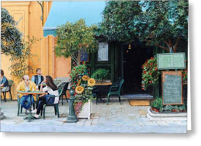 Cafe, Aix-en-provence, 1999 Oil On Canvas Greeting Card by Trevor Neal