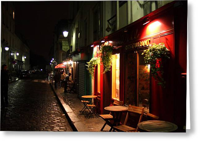 Cafe At Night Greeting Card by Carrie Warlaumont