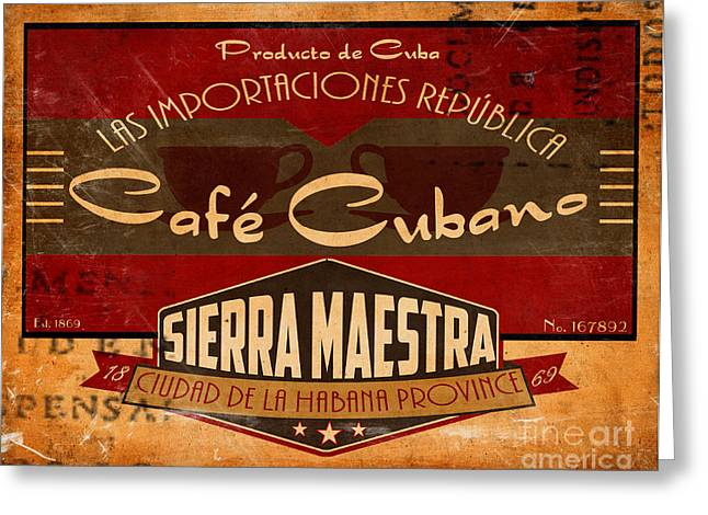 Cafe Cubano Crate Label Greeting Card by Cinema Photography