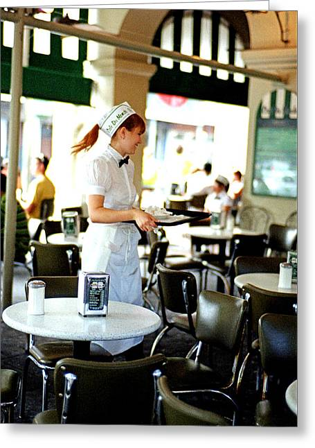 Cafe Du Monde Waitress Greeting Card by Chris Fender