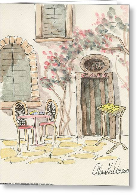 Cafe For Two Greeting Card by Alan Paul