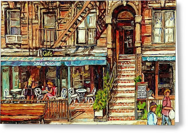Cafe Mogador Moroccan Mediterranean Cuisine New York Paintings East Village Storefronts Street Scene Greeting Card