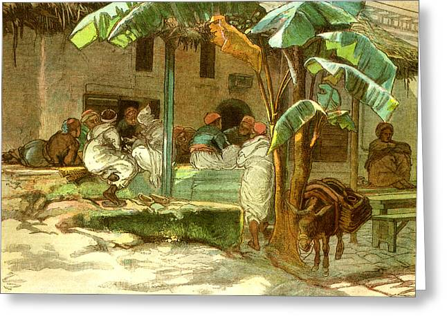 Cafe Of Hammah Algiers 1885 Greeting Card by English School