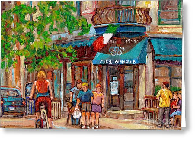 Cafe Olimpico-124 Rue St. Viateur-montreal Paintings-sports Bar-restaurant-montreal City Scenes Greeting Card by Carole Spandau