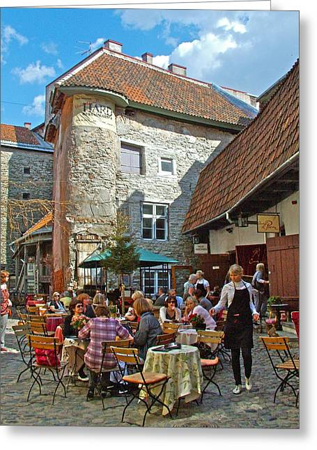 Cafe On A Side Street In Old Town Tallinn-estonia Greeting Card by Ruth Hager