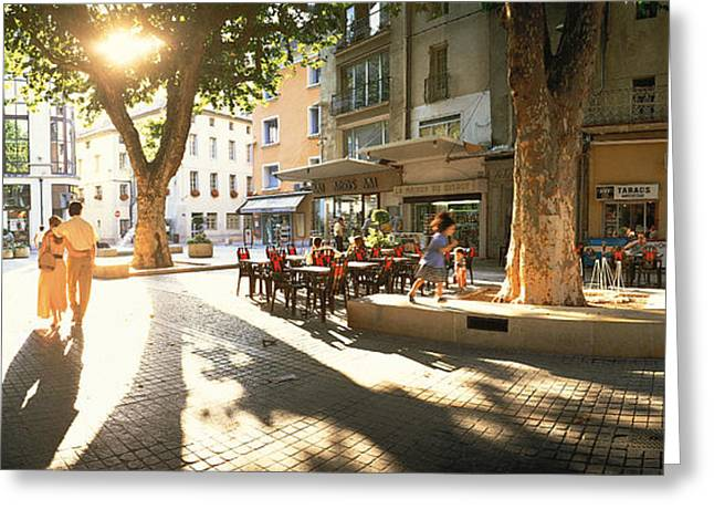 Cafe, Orange, Provence France Greeting Card by Panoramic Images