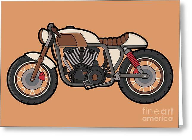 Cafe Race Motor Vector Greeting Card