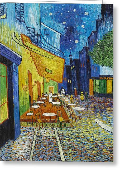 Cafe Terrace At Night Greeting Card by Georgia Fowler