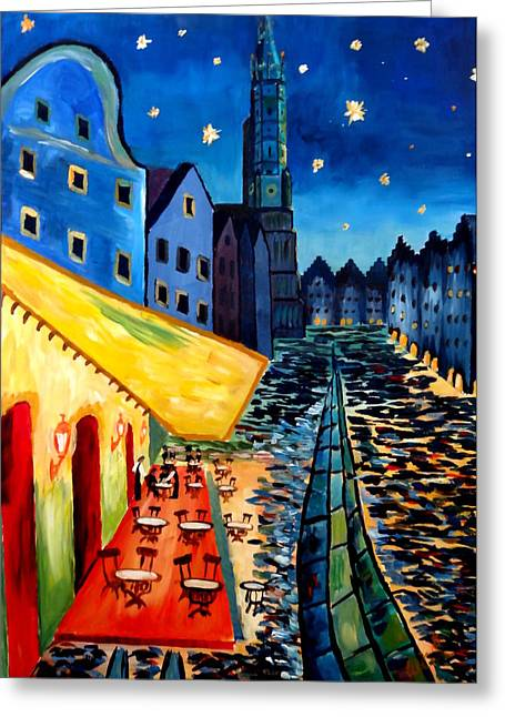 Cafe Terrace In Landshut - Inspired By Van Gogh Greeting Card by M Bleichner