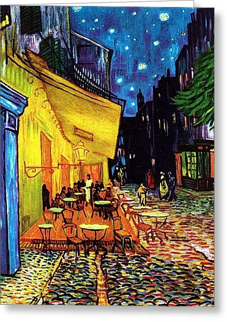 Greeting Card featuring the painting Cafe Terrace Place Du Forum At Night  by Vincent Van Gogh