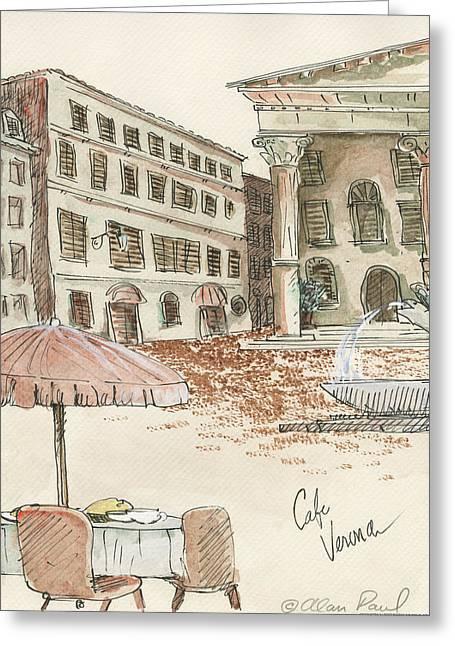 Cafe Verona Greeting Card by Alan Paul