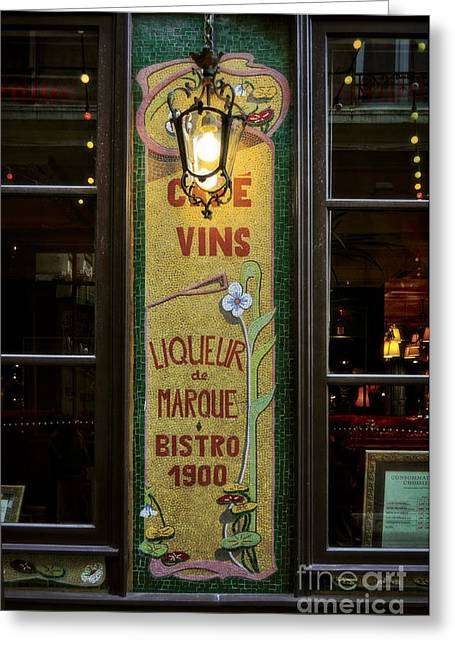 Cafe Vins At Night Greeting Card by Mary Machare