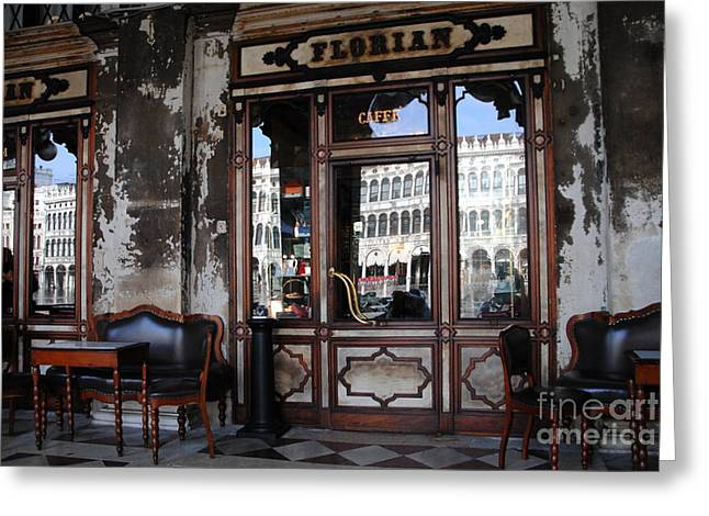 Caffe Florian - Venetian Icon Greeting Card by Jacqueline M Lewis