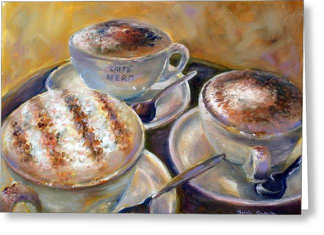Greeting Card featuring the painting Caffe Nero by Bonnie Goedecke