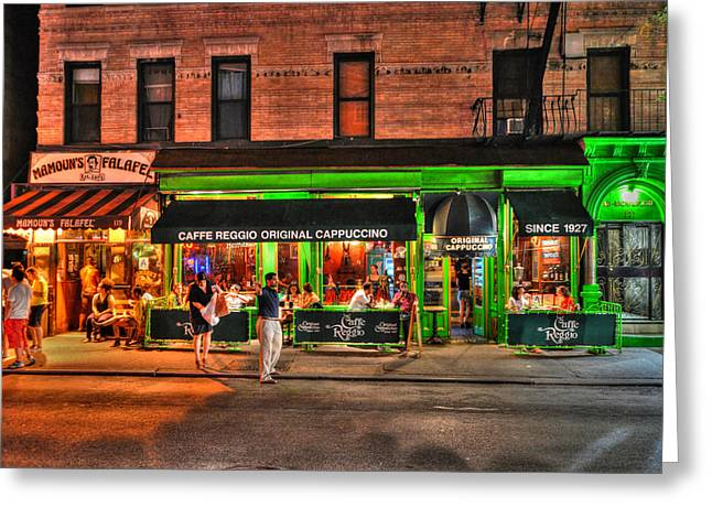 Caffe Reggio And Mamouns Falafel In Greenwich Village Greeting Card