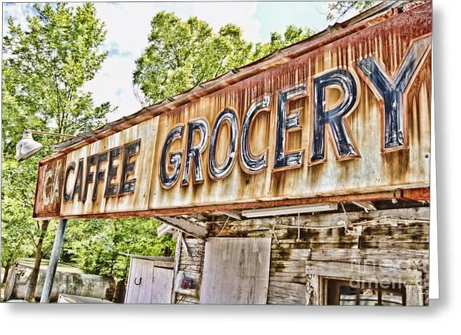 Caffee Grocery Greeting Card by Scott Pellegrin