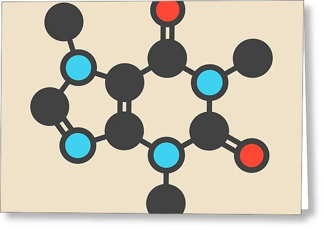 Caffeine Coffee Stimulant Molecule Greeting Card by Molekuul