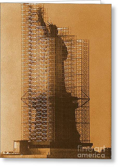 New York Lady Liberty Statue Of Liberty Caged Freedom Greeting Card