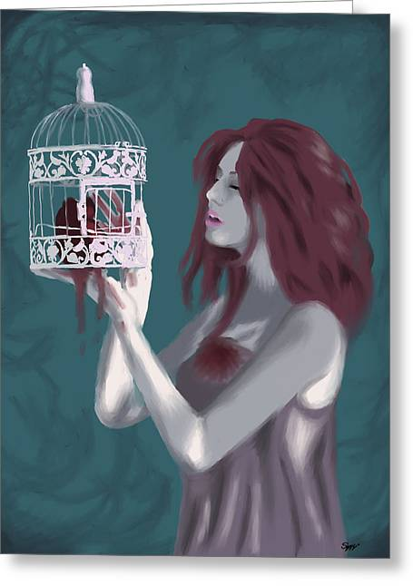 Caged Heart Greeting Card by Stacy Parker