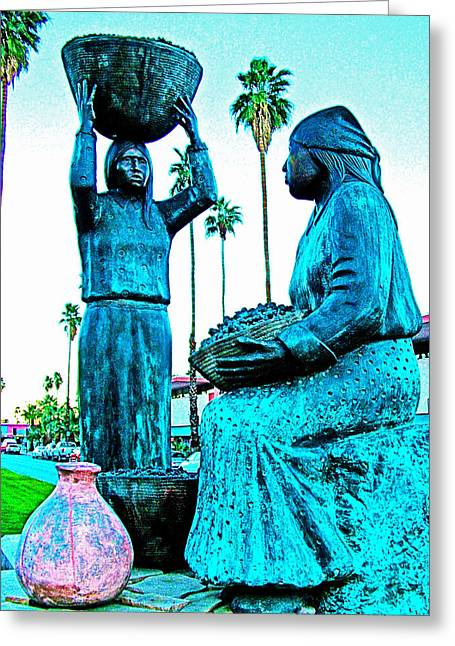 Greeting Card featuring the photograph Cahuilla Women Sculpture In Palm Springs-california  by Ruth Hager