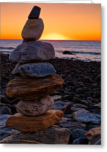Cairn At Sunrise Rye Harbor Nh Greeting Card