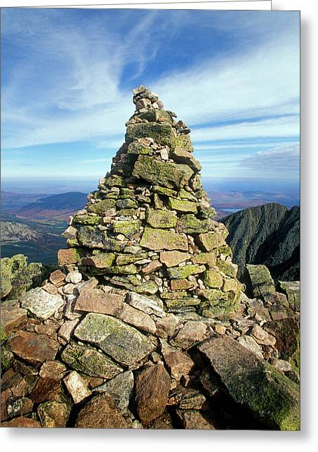 Cairn Marker On Top Of Mountain Greeting Card