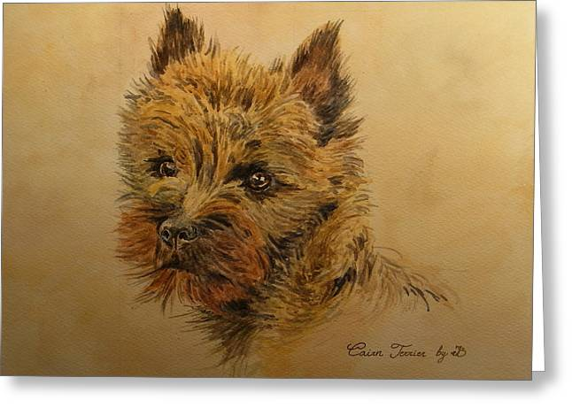 Cairn Terrier Dog Greeting Card by Juan  Bosco