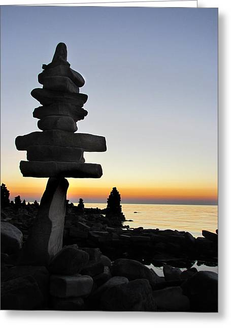 Cairns At Sunset At Door Bluff Headlands Greeting Card