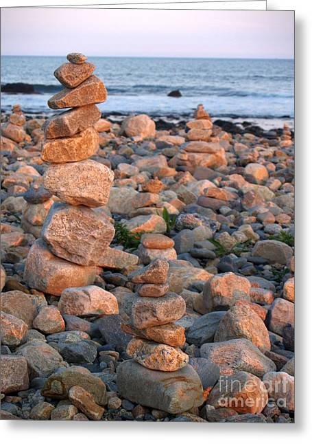 Cairns In The Golden Hour At Point Judith Greeting Card