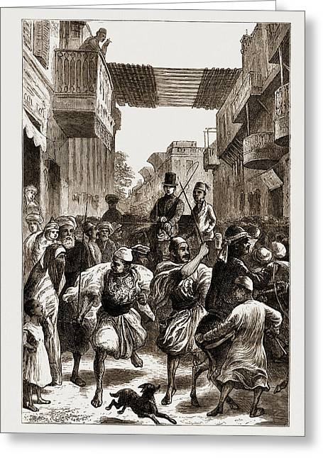 Cairo, Egypt, 1876 Clearing The Way For Ladies Greeting Card by Litz Collection