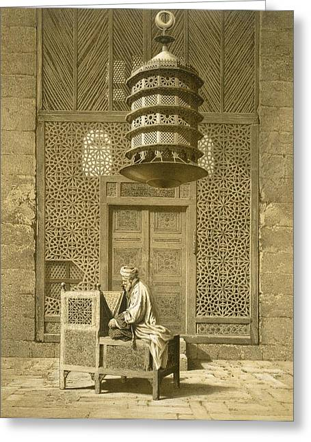 Cairo Funerary Or Sepuchral Mosque Greeting Card by Emile Prisse d'Avennes