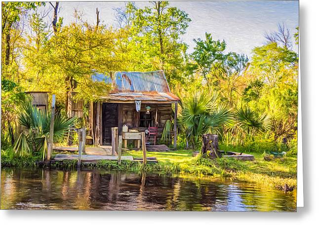 Cajun Cabin - Paint Greeting Card by Steve Harrington