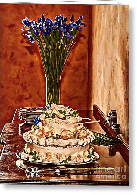Cake And Purple Irises Greeting Card by Amanda Collins
