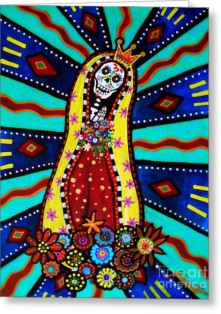 Greeting Card featuring the painting Calavera Virgen by Pristine Cartera Turkus