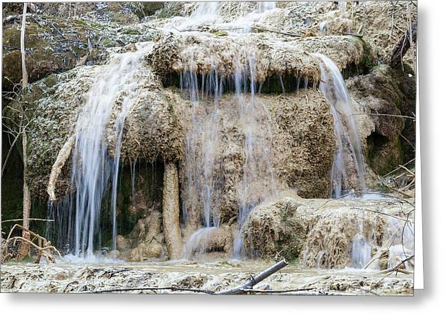 Calcareous Sinter And Waterfall Greeting Card by Dr Juerg Alean