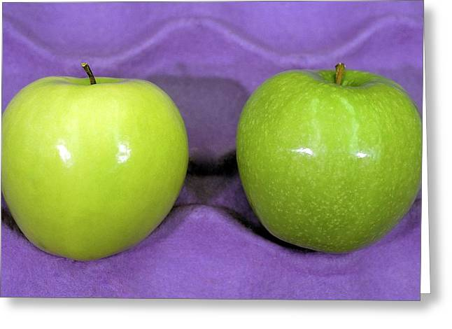 Calcium-treated And Untreated Apple Greeting Card by Bob Nichols/us Department Of Agriculture
