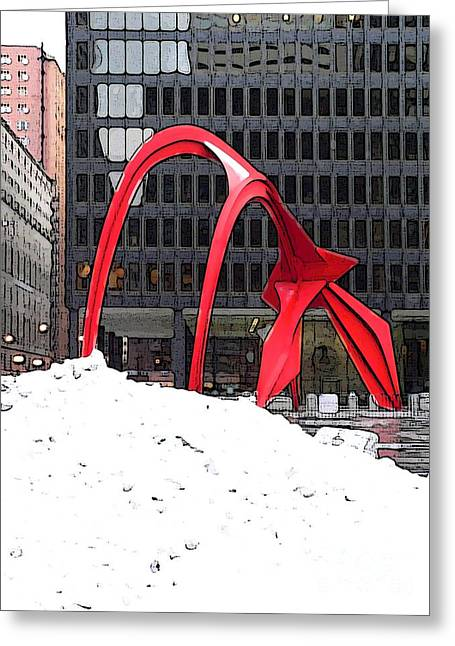 Calder Flamingo In Winter Greeting Card