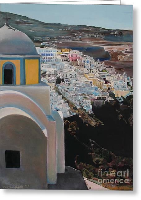 Caldera Church Santorini Greeting Card by Debra Chmelina