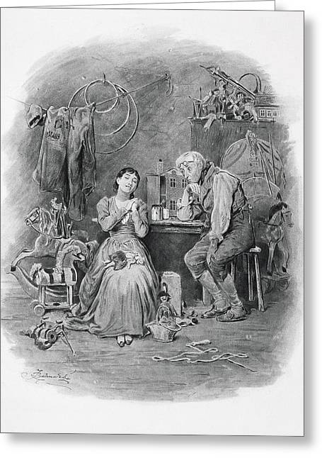 Caleb Plummer And His Blind Daughter Greeting Card by Frederick Barnard