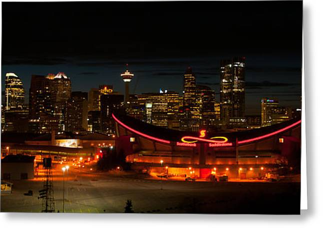 Calgary At Night Greeting Card by Guy Whiteley