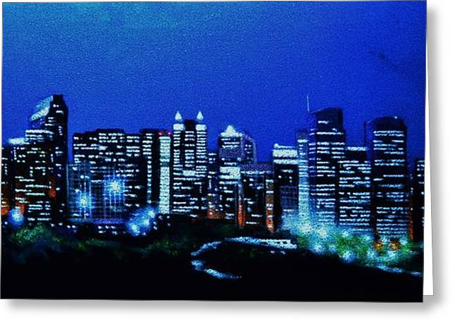 Calgary Canada In Black Light Greeting Card