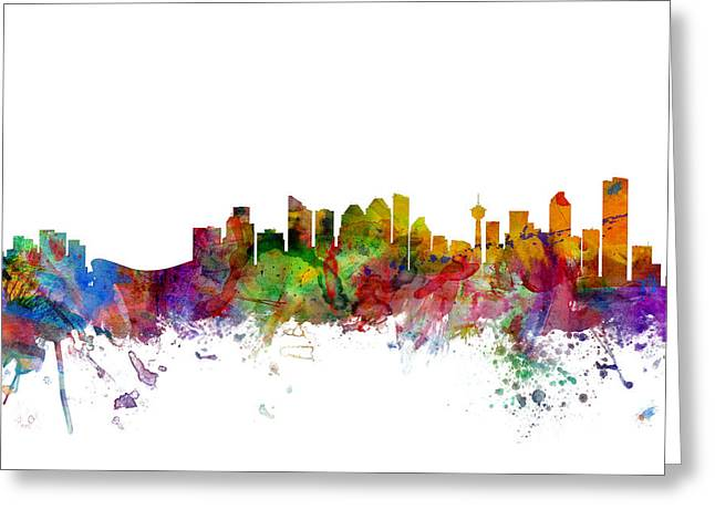 Calgary Canada Skyline Greeting Card by Michael Tompsett