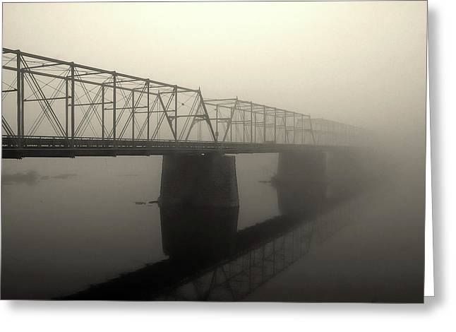 Greeting Card featuring the photograph Calhoun Street Bridge In Fog by Steven Richman