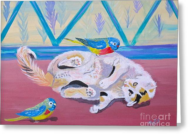 Calico And Friends Greeting Card by Phyllis Kaltenbach