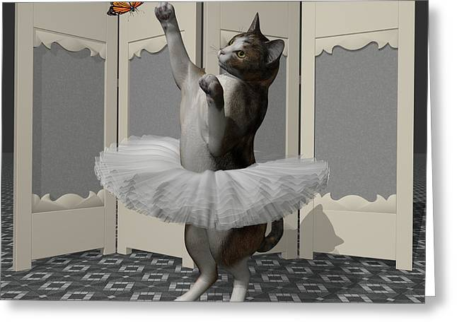 Calico Ballet Cat On Paw-te Greeting Card by Andre Price