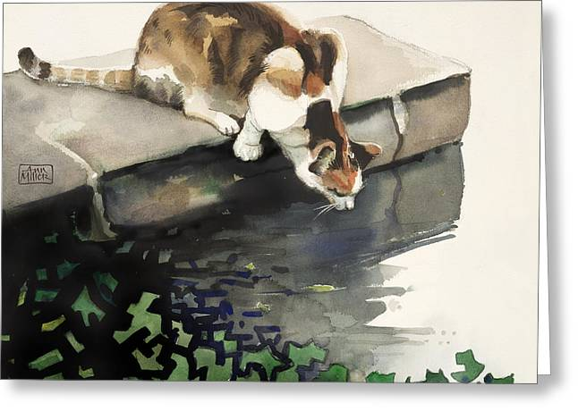 Calico Cat Greeting Card by Ann Miller