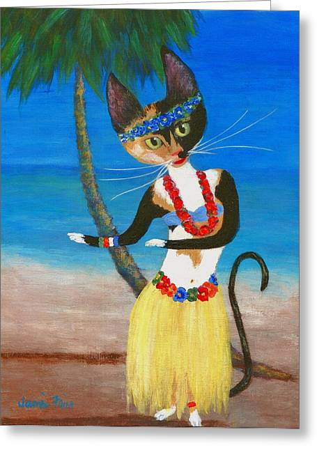 Calico Hula Queen Greeting Card